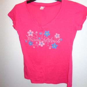 Women's Miami Beach V-Neck Pink Top Size L Large